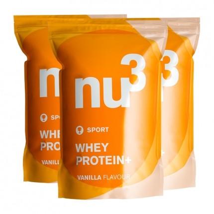 3 x nu3 whey protein+ vanilla powder