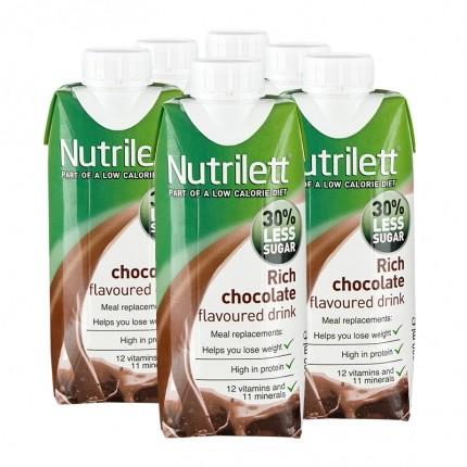 6 x Nutrilett Rich Chocolate Less Sugar Drink