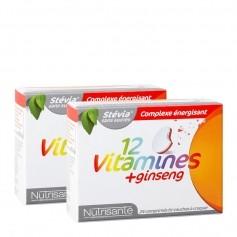 2 x Nutrisanté, 12 vitamines + ginseng, comprimés