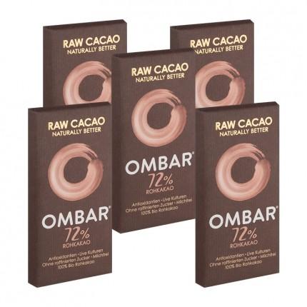 5 x Ombar Bio Dark 72 % Rohe Schokolade