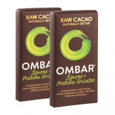 2 x Ombar Bio Lemon &  Green Tea Rohe Schokolade