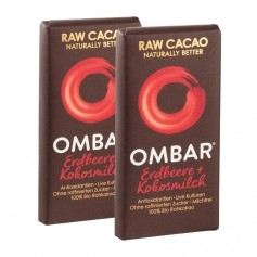 2 x Ombar Bio Strawberries & Cream Rohe Schokolade
