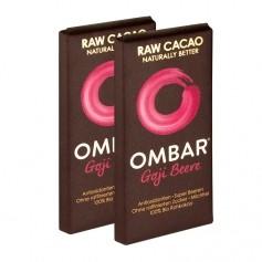 2 x Ombar Bio Goji Berry Rohe Schokolade