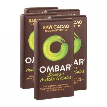 5 x Ombar Bio Lemon & Green Tea Rohe Schokolade