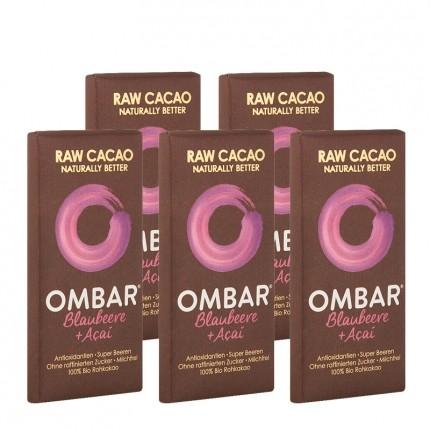 OMBAR Bio Rohschokolade, Blaubeere-Acai (5 x 35 g)