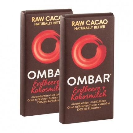 2 x Ombar Bio Strawberries & Cream Rohe Schokolade