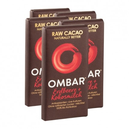 5 x Ombar Bio Strawberries & Cream Rohe Schokolade