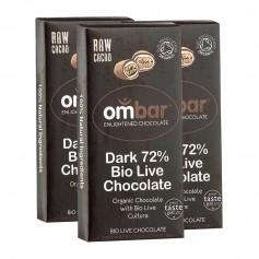 3 x Ombar Bio Dark 72 % Rohe Schokolade