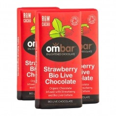 3 x Ombar Bio Strawberries & Cream Rohe Schokolade