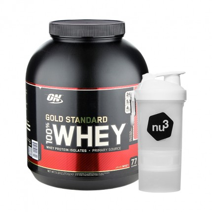 Optimum Nutrition 100% Whey Gold Standard Protein Delicious Strawberry + nu3 SmartShake