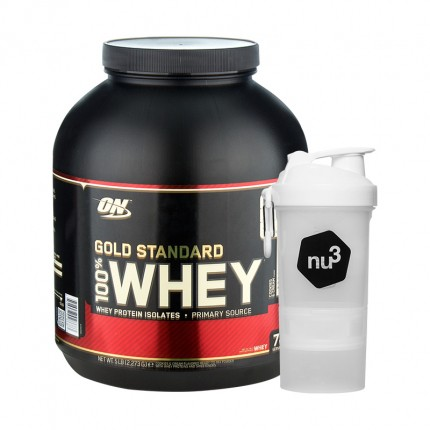 Optimum Nutrition 100% Whey Gold Standard Protein Cookies & Cream + nu3 SmartShake