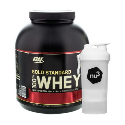 Optimum Nutrition 100% Whey Gold Standard Protein Vanilla Ice Cream + nu3 SmartShake