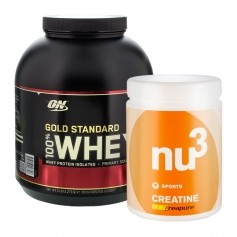 Sportpaket: nu3 Creatine och Optimum Nutrition 100% Whey Gold