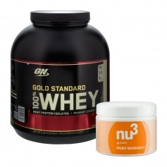 Sportpaket: nu3 Post Workout och Optimum Nutrition 100% Whey Gold