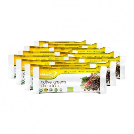 12x Organic Food Bar Active Greens Chocolate