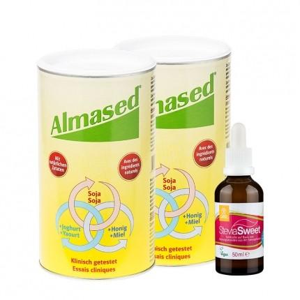Kaloriensparpaket mit Stevia und Doppelpack Almased Vitalkost