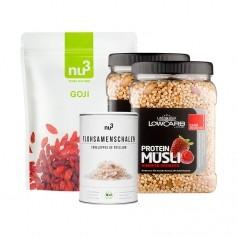 Luxusfrühstück: nu3 Goji Beeren + nu3 Bio Flohsamen-Schalen + 2 x Layenberger LowCarb.one Protein Müsli Himbeer-Erdbeer