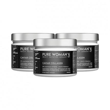 3 x Pure Woman Caviar Collagen, Pulver