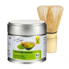 Raab Vitalfood Bio Premium Matcha Tee mit nu3 Matcha Besen