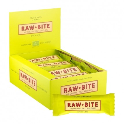 Raw Bite, 12 x Raw Food citron vert pimenté, barres