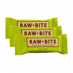 Raw Food, Raw Bite citron vert pimenté, lot de 3, barres