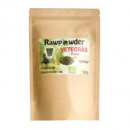 Raw Powder Vetegräs NZ, 200 g, eko