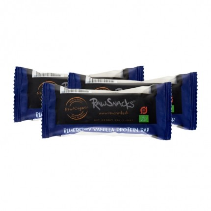 3 x Raw Snacks Proteinbar Blueberry Vanilla, Økologisk