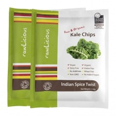 2 x Rawlicious Kale Chips Indian Spice Twist