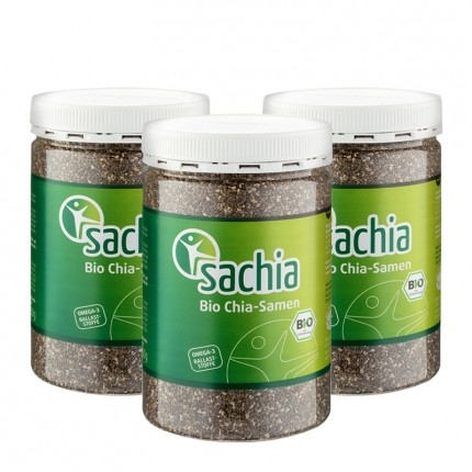3 x Sachia Chia Samen Bio, schwarz