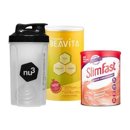 SlimFast Milkshake fraise + BEAVITA Vitalkost + Shaker