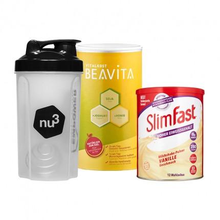 SlimFast Milkshake vanille + BEAVITA Vitalkost + Shaker