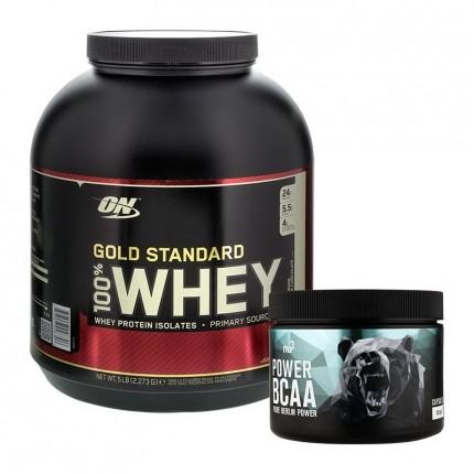 Sportspakke: Optimum Nutrition Whey Protein Mælkechokolade og nu3 BCAA, Pulver og Kapsler
