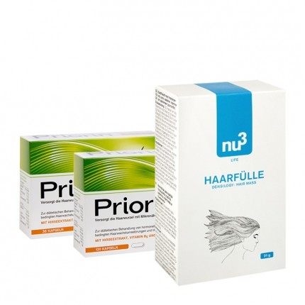 Start-kit med Priorin og nu3 fyldigere hår