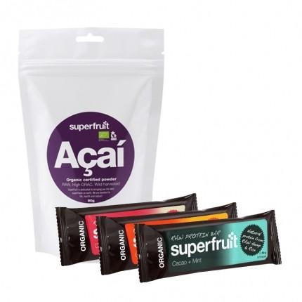 Superfruit Acai Økologisk, Pulver + 3 Superfruit Raw Protein Bars
