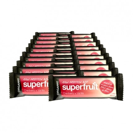 Superfruit Raw Protein Bar – Tranebær + vanilje, bar