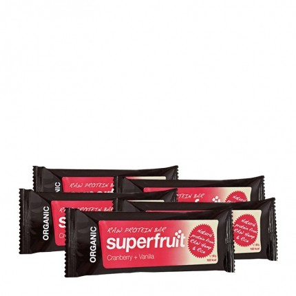 5 x Superfruit Raw Protein Bar – Tranebær + vanilje, bar