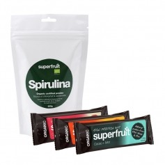 Superfruit Spirulina Økologisk, Pulver + 3 Superfruit Raw Protein Bars