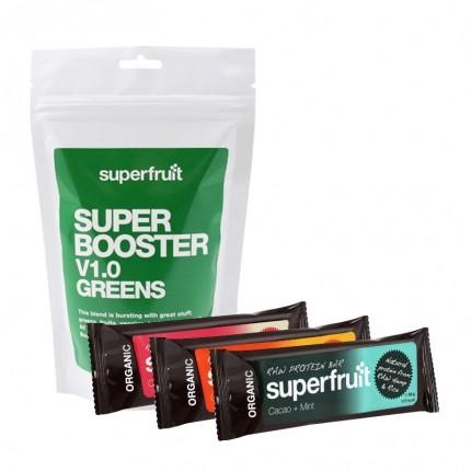 Superfruit Super Booster V1.0 Greens + 3 Raw Protein Bars - kun hos nu3!