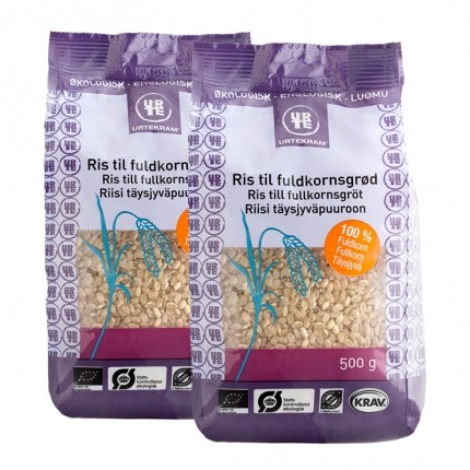 2 x Urtekram Økologisk Ris til Fuldkornsgrød