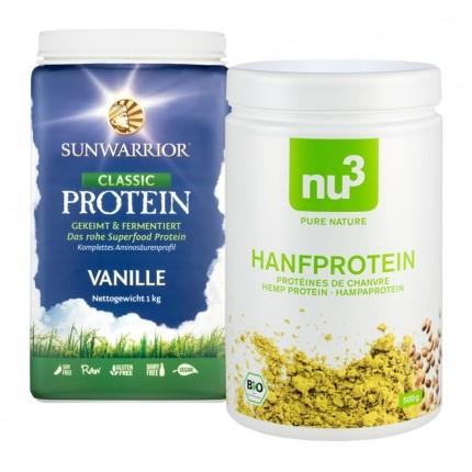 Vegansk Proteinpakke: Sunwarrior Risprotein Vanilje og nu3 Hamp Protein Økologisk, Pulver