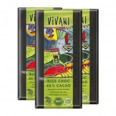 3 x Vivani Tafelschokolade Rice Choc 40 % Cacao
