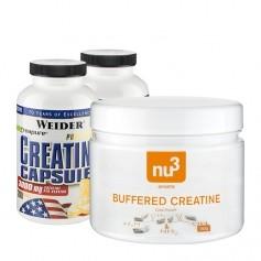 2 x Weider Pure Creatin, Kapseln + nu3 Buffered Creatine, Kapseln