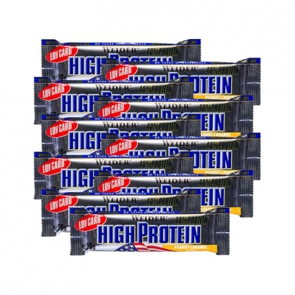10 x Weider 40% High Protein Low Carb Erdnuss-Karamell Riegel