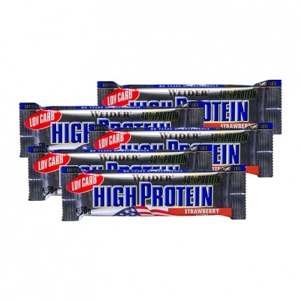5 x Weider 40% High Protein Low Carb Erdbeere Riegel