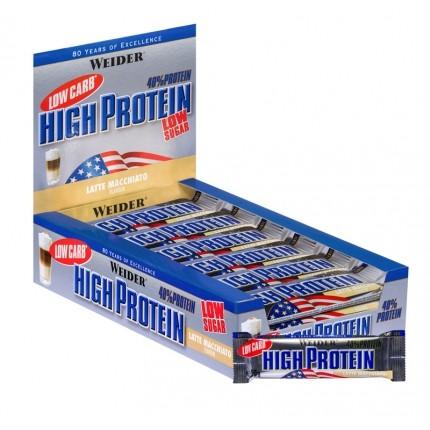 25 x Weider 40% High Protein Low Carb Latte Macchiato Riegel