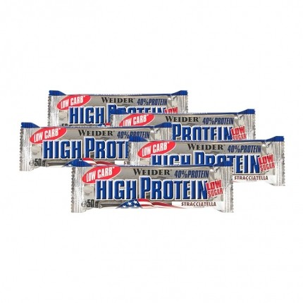 5 x Weider 40% High Protein Low Carb Stracciatella Riegel