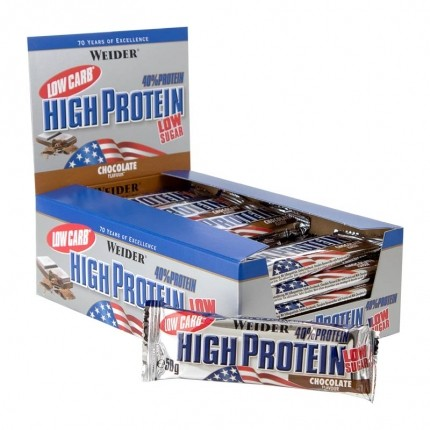 25 x Weider 40% High Protein Low Carb Schoko Riegel
