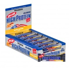 25 x Weider 40% High Protein Low Carb Erdnuss-Karamell Riegel