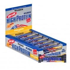 25 x Weider 40% High Protein Low Carb Erdnuss-Karamell Riegel