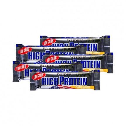 5 x Weider 40% High Protein Low Carb Erdnuss-Karamell Riegel